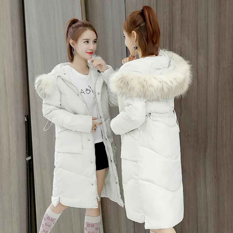 实拍2018冬季新款羽绒服女韩版修身中长款棉服大毛领收腰外套