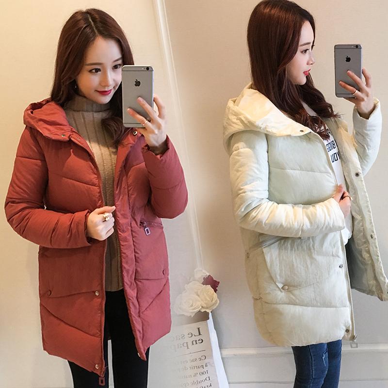 实拍冬季新款韩版棉衣女中长款加厚修身羽绒棉服大码显瘦外套