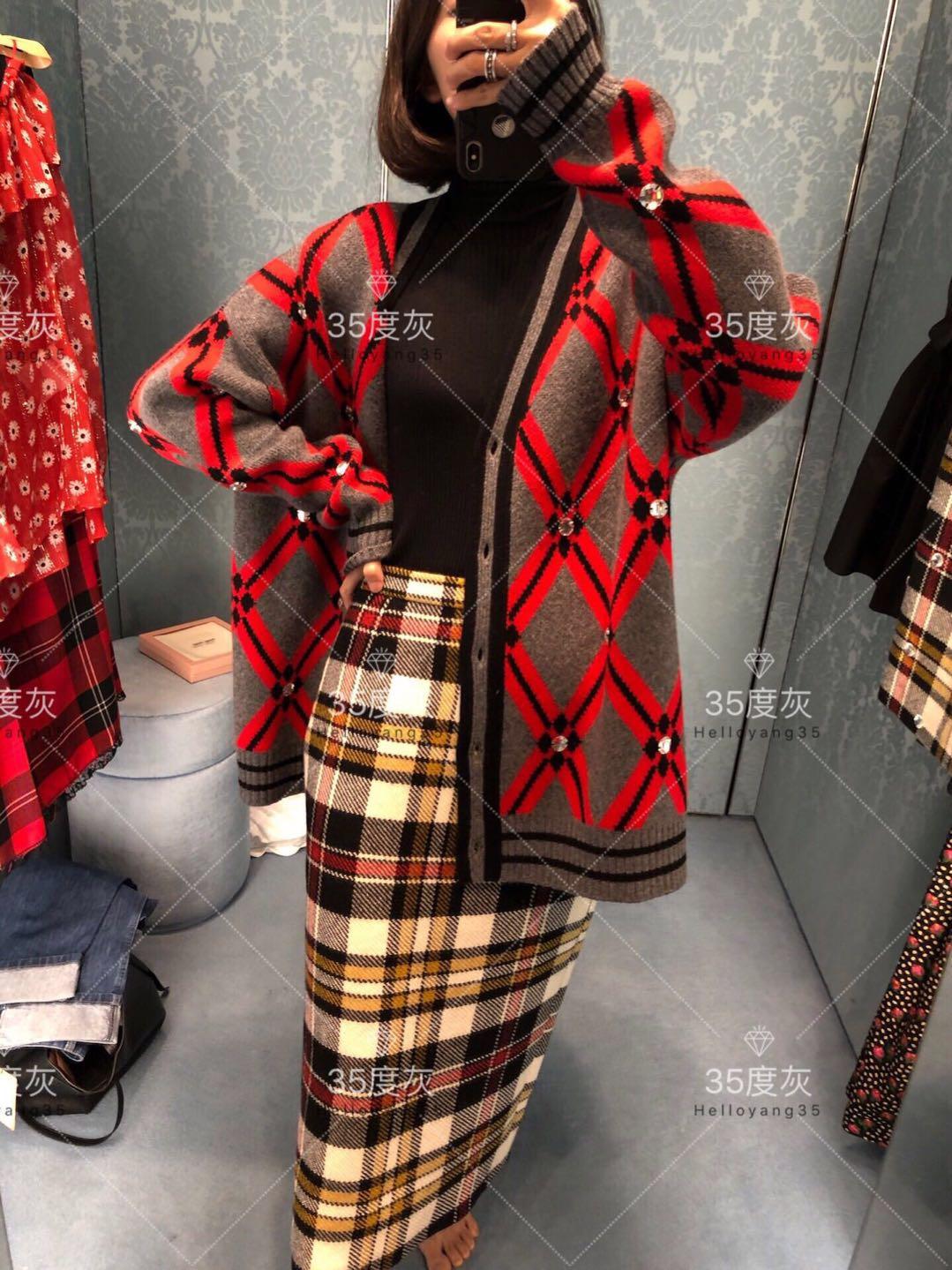 MiuMiu 18秋冬款女士紅色拼灰色菱格紋毛呢開衫喜哥同款