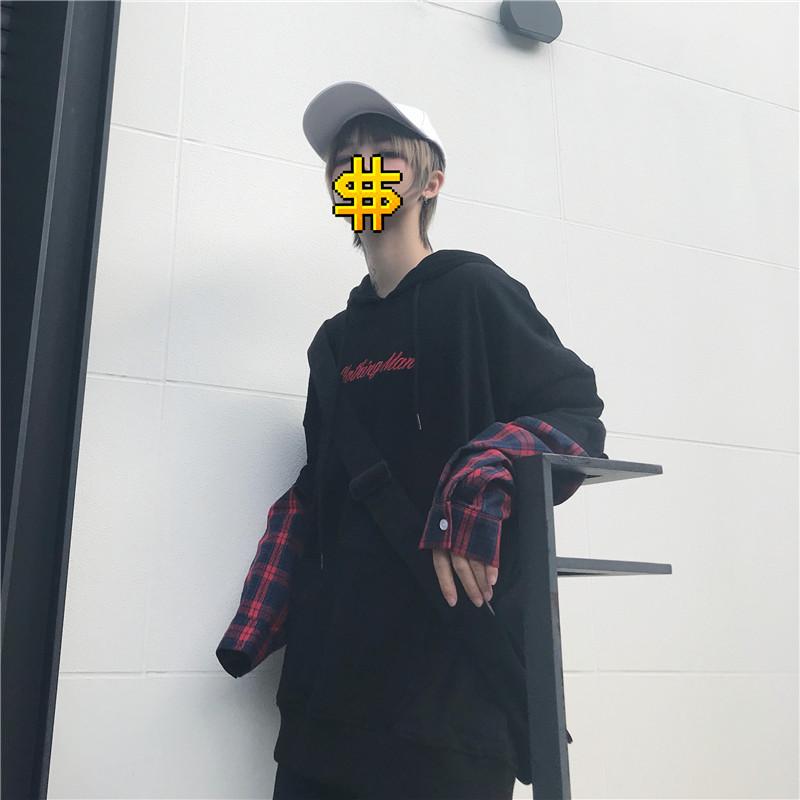 亚博娱乐平台入口已检测秋冬季韩版原宿风刺绣格子加厚假俩件长袖卫衣男女装