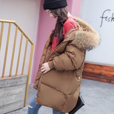 实拍2018秋冬韩版茧型中长羽绒服加厚大码孕妇装棉衣女外套潮