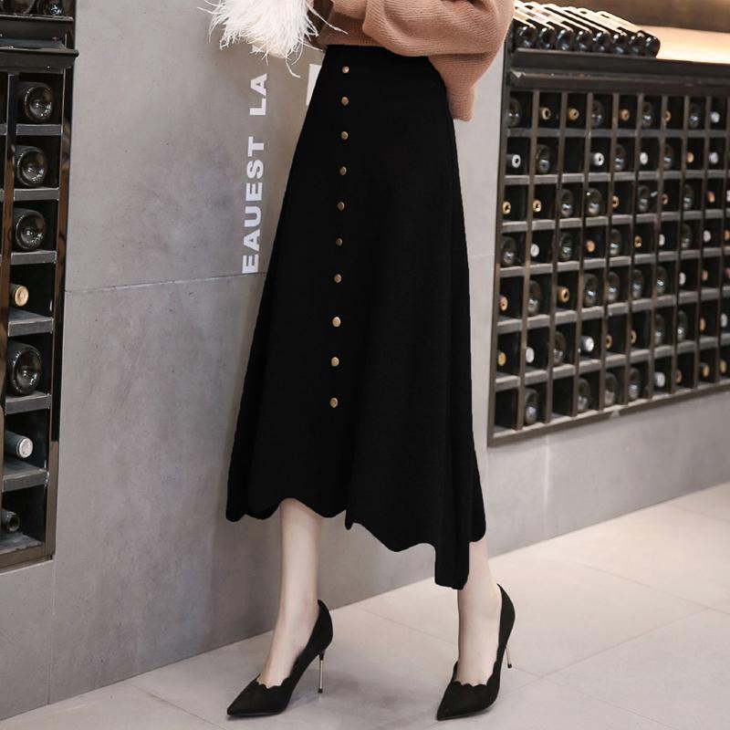 韩国2018新款加厚针织裙中长款高腰半身裙秋冬修身长裙排扣A字裙