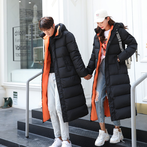 实拍2018新款羽绒服女韩版过膝情侣装棉服宽松学生bf棉衣面包服