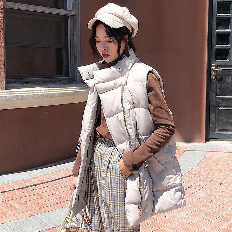实拍冬季新款韩版休闲宽松立领坎肩大码中长款羽绒服女马甲外套