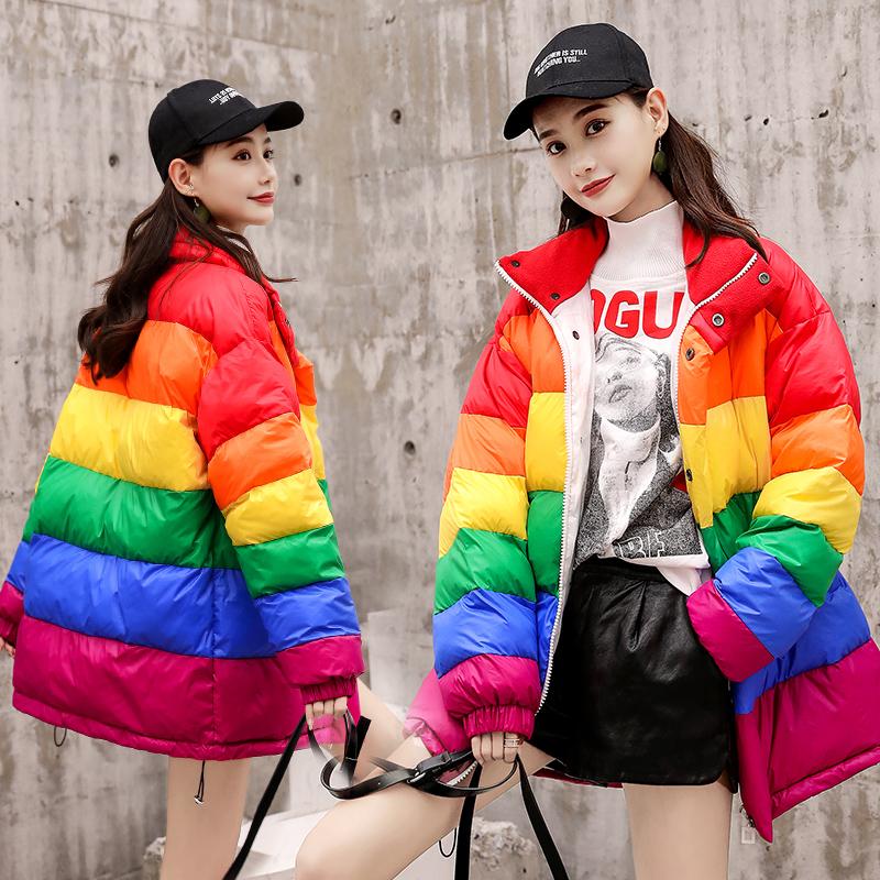 实拍网红大码宽松轻薄款羽绒服女学生情侣装中长款彩虹棉条纹外套