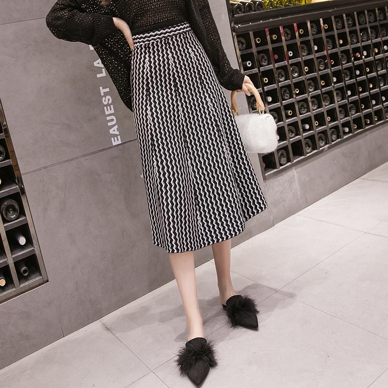 韩国半身裙中长款秋冬女2018新款高腰加厚针织裙修身显瘦大摆裙子