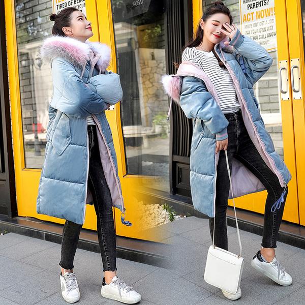 实拍2018冬季新款羽绒服女金丝绒面包服韩版大码加厚棉服外套