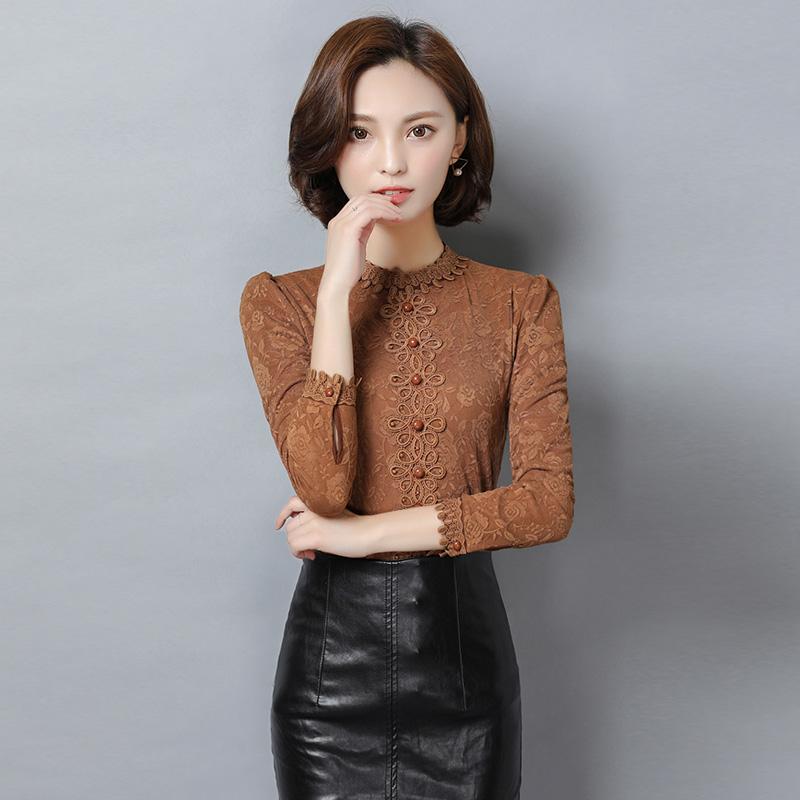 實拍加絨加厚蕾絲衫女新款韓版女裝立領修身上衣長袖打底衫