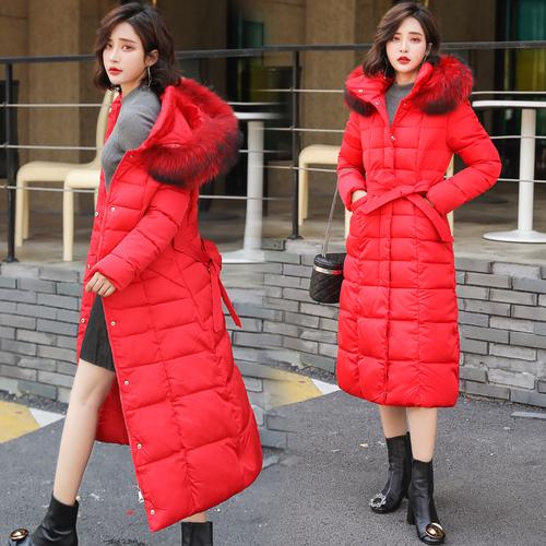 实拍2018新款韩版长款过膝大码棉衣女收腰显瘦连帽系带棉服外套