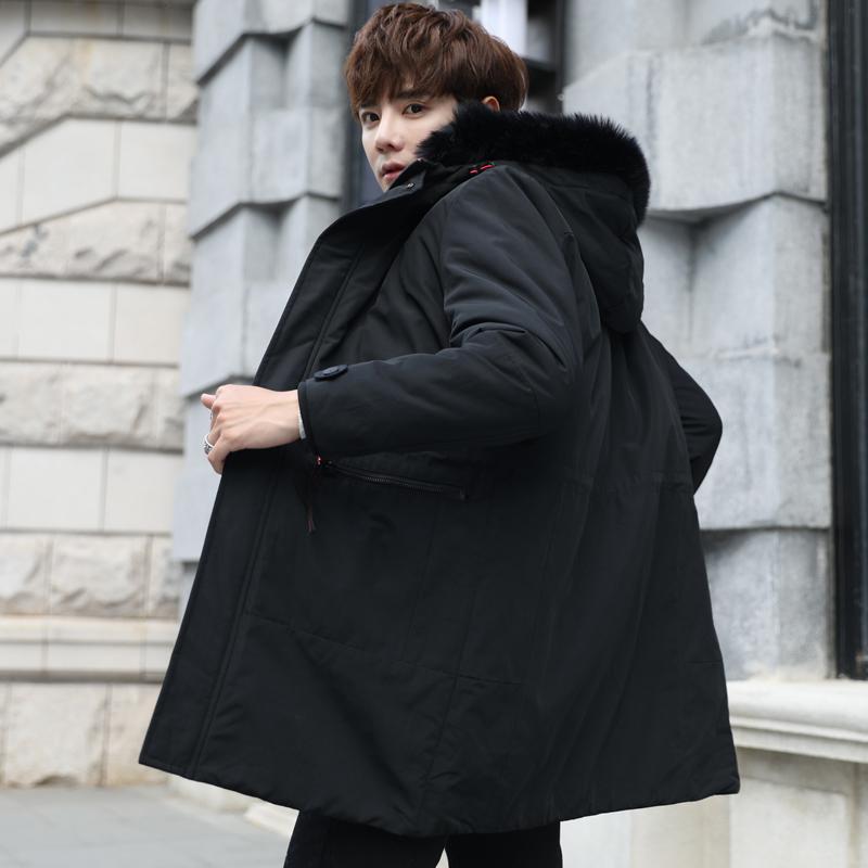 棉衣男中長款冬季外套男士羽絨棉服潮流修身冬天加厚棉襖男裝帥氣