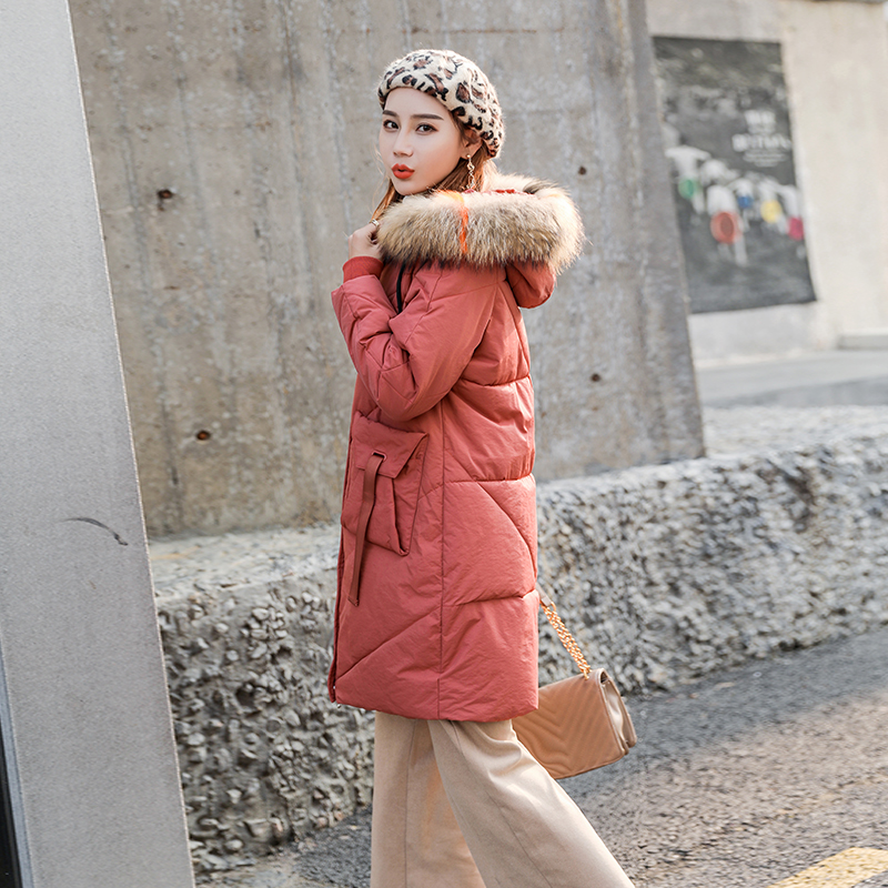 实拍新款羽绒服 女时尚韩版宽松大毛领中长款棉服高品质