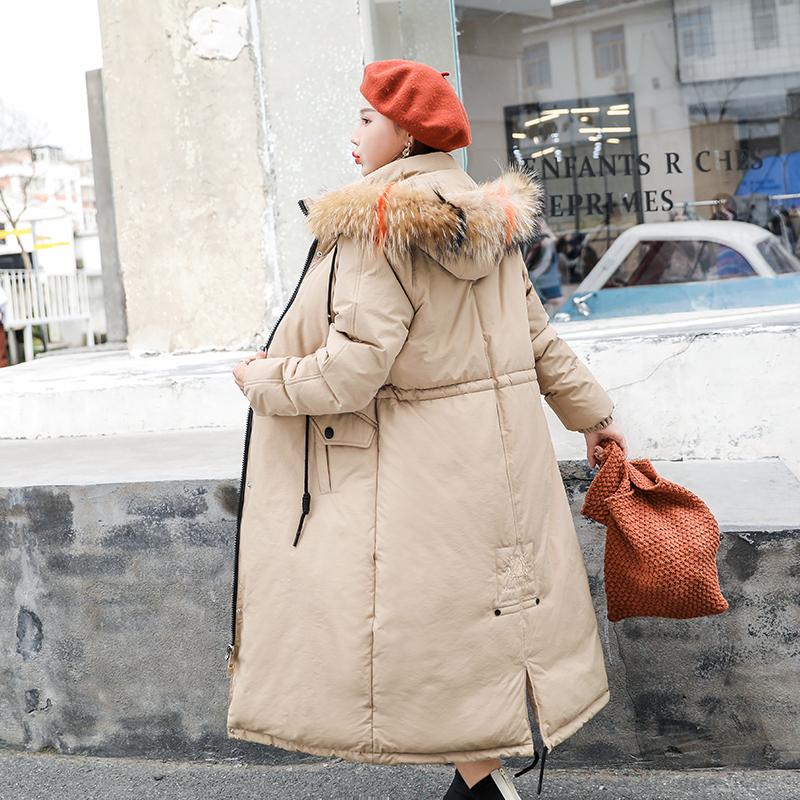 实拍新款羽绒服 女长款韩版宽松大毛领棉服外套女