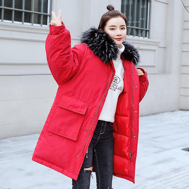 实拍新款羽绒服女中长款桃皮绒面料韩版宽松棉服