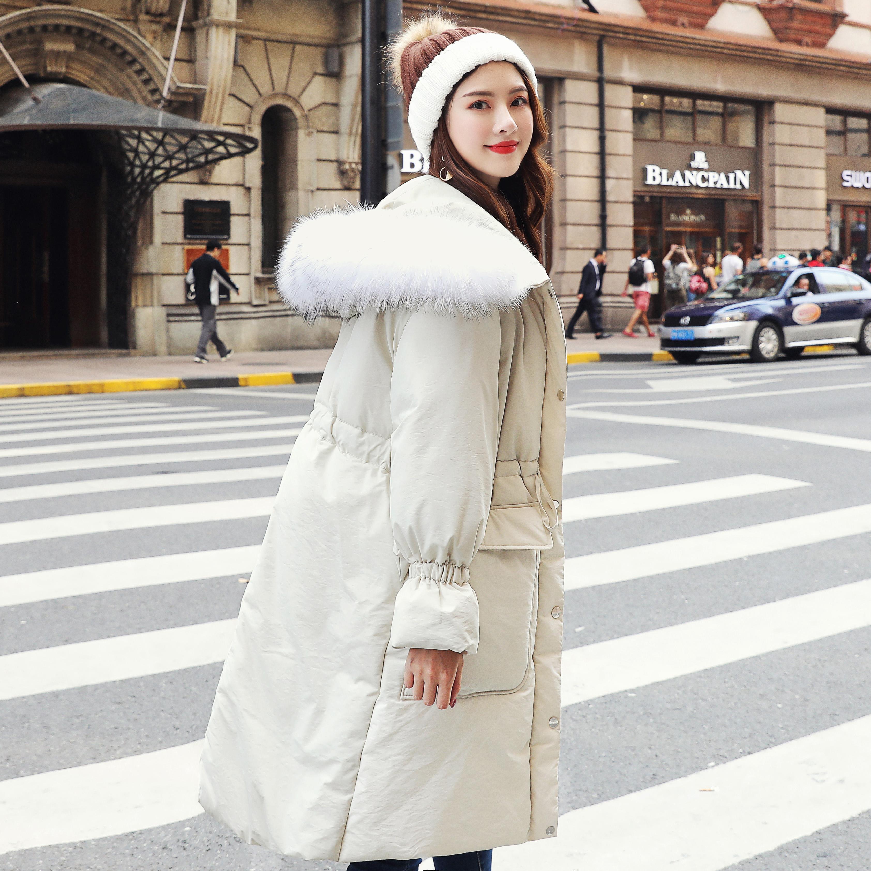 实拍2018冬季新款韩版休闲收腰抽绳连帽大毛领长款羽绒棉服外套女