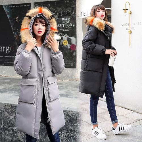 实拍韩国东大门18羽绒服女中长款大毛领宽松学生bf面包服ins棉服