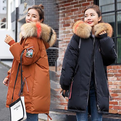 实拍棉服中长款大毛领冬季新款韩版宽松大码羽绒服绣花棉衣潮