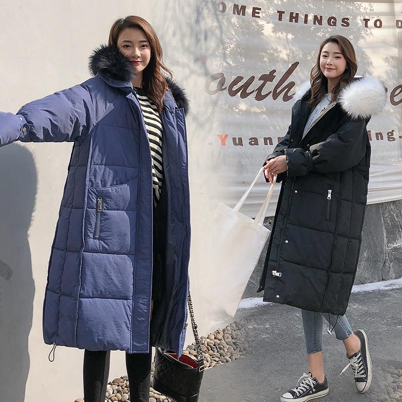 实拍2018冬季新款韩版超大毛领羽绒服棉衣女长款棉服过膝外套
