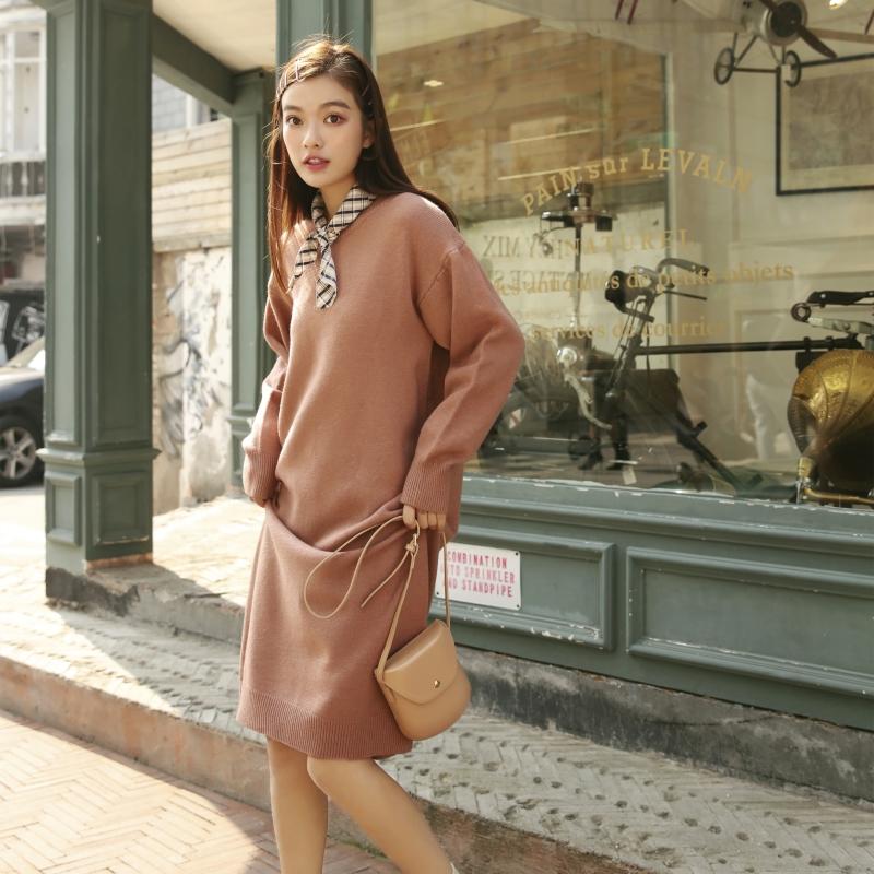 羊驼绒 控价88~纯色中长款套头羊驼绒毛衣连衣裙2018新款网红
