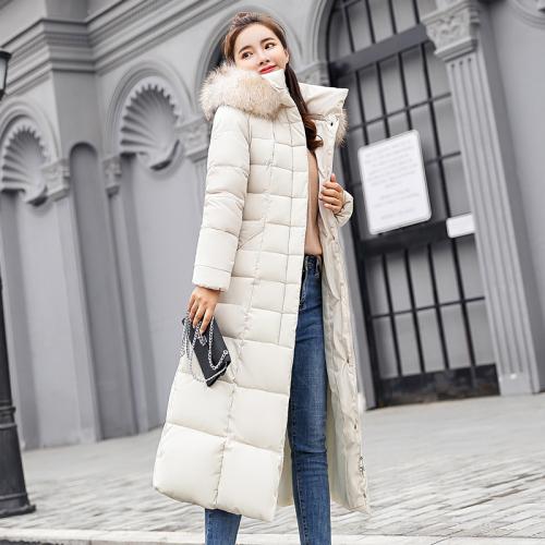 实拍2018新款秋冬装羽绒服女韩版气质修身长款棉服大毛领外套棉袄