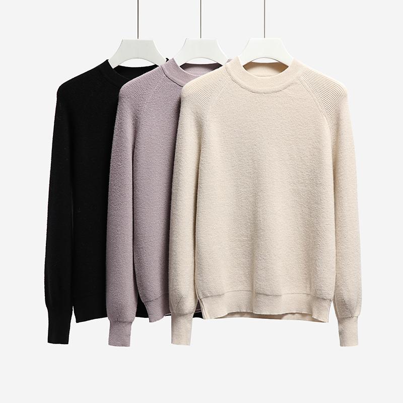 秋裝女2019新款韓版套頭純色寬松短款燈籠袖毛衣女學生百搭針織衫