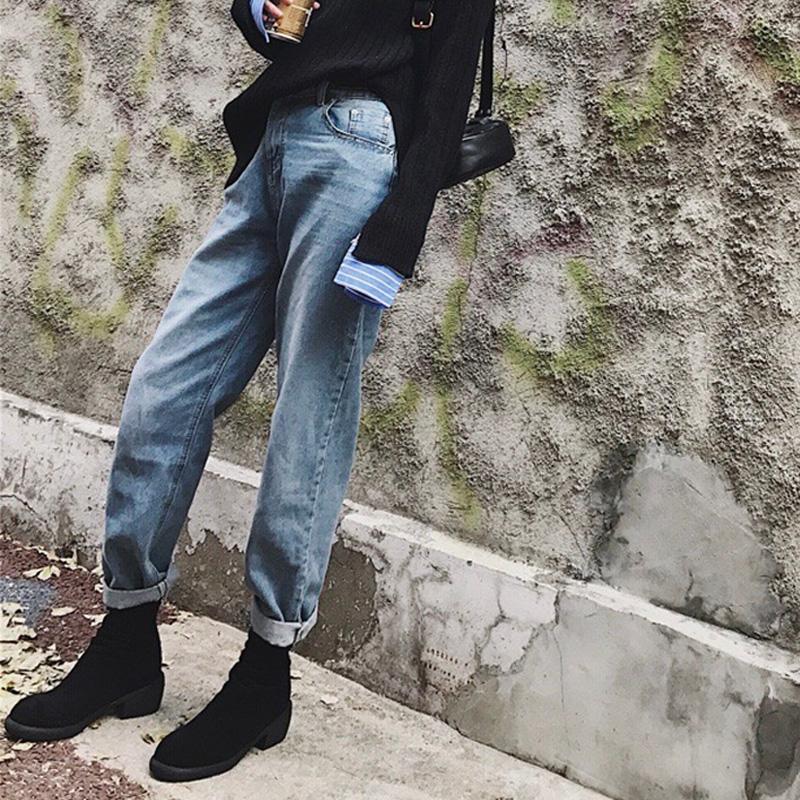 秋冬女装帅气裤子bf高腰直筒九分裤老爹萝卜裤宽松网红牛仔裤酷潮