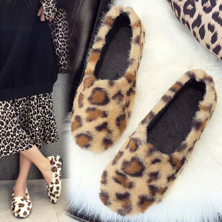 秋冬网红同款羊羔毛平底单鞋女懒人豆豆鞋加绒瓢鞋豹纹毛毛鞋