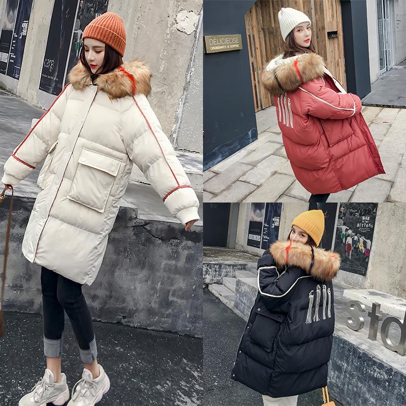 棉衣服女2018新款中长款连帽毛领棉袄ins面包服冬装冬季外套加厚