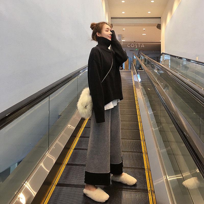 版型质感炒赞!针织阔腿裤女2018秋冬坠感裤子宽松直筒奶奶裤