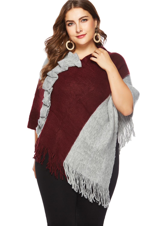 新款歐美跨境大碼女裝毛衣披肩