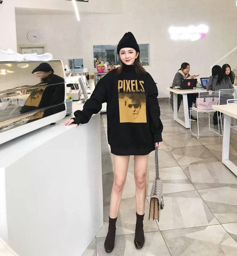 SIXONE 卫衣女 2018秋冬新款韩版学生宽?#21830;?#22836;加绒中长款长袖上衣