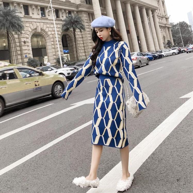 9026#优质2018秋冬韩版针织修身毛衣+显瘦包臀裙心机女套装两件套