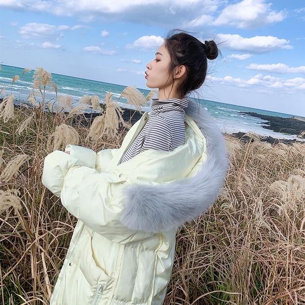实拍棉服女新款冬装韩版宽松bf长款大毛领棉衣长过膝外套冬加厚