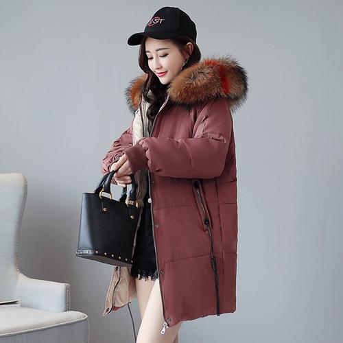 实拍2018新款冬季羽绒棉服韩版大码女装中长款胖mm宽松bf棉衣外套