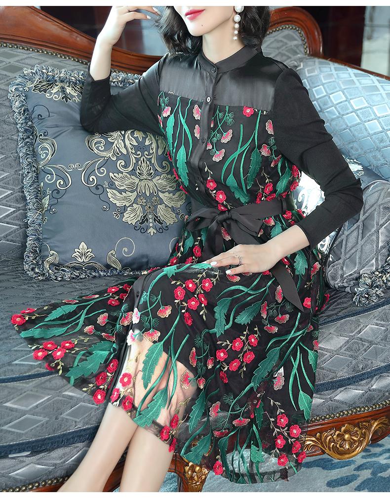 很仙的碎花連衣裙女早春2019新款中國風氣質秋冬顯瘦網紗繡花長裙