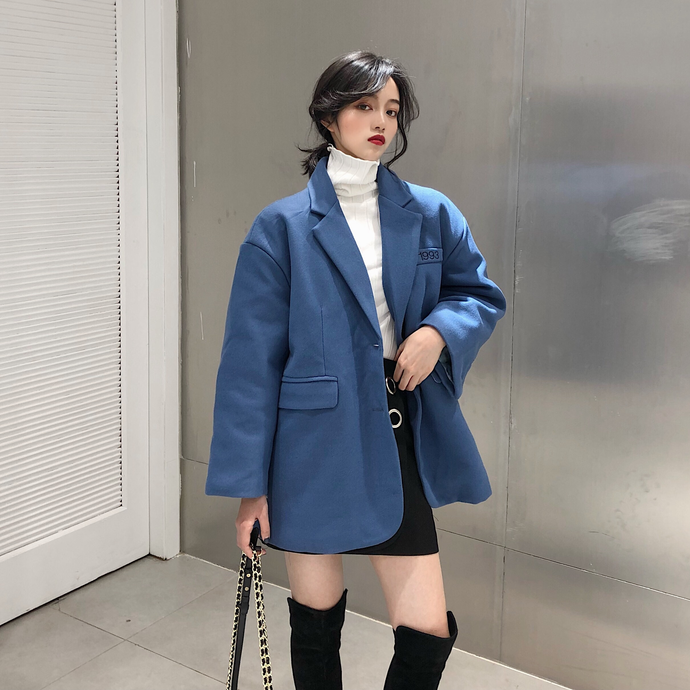 實拍 秋冬1993數字寬松百搭毛呢夾棉加厚中長西裝外套女