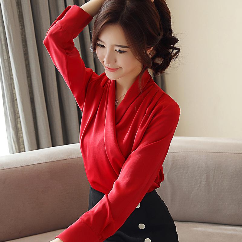 實拍 2019春裝新款緞面V領長袖襯衫女氣質韓范上衣襯衣顯瘦雪紡衫