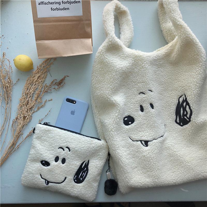 实拍实价 韩国ins 超可爱 刺绣卡通羊羔毛斜跨小包手提大包