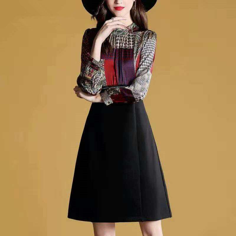 春秋新款長袖連衣裙大碼中長款長袖女裝冬裙子