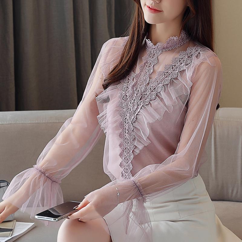 2019春季新款立领蕾丝衫打底衫镂空透视百搭蕾丝网纱上衣雪纺衫