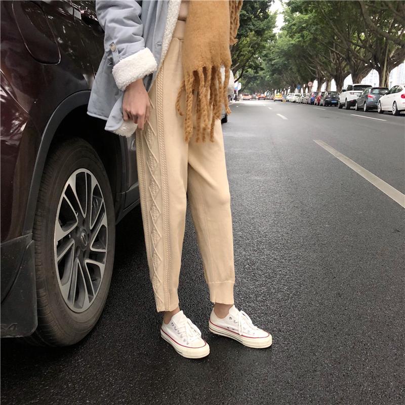 實拍實價 休閑奶奶褲麻花蘿卜針織褲