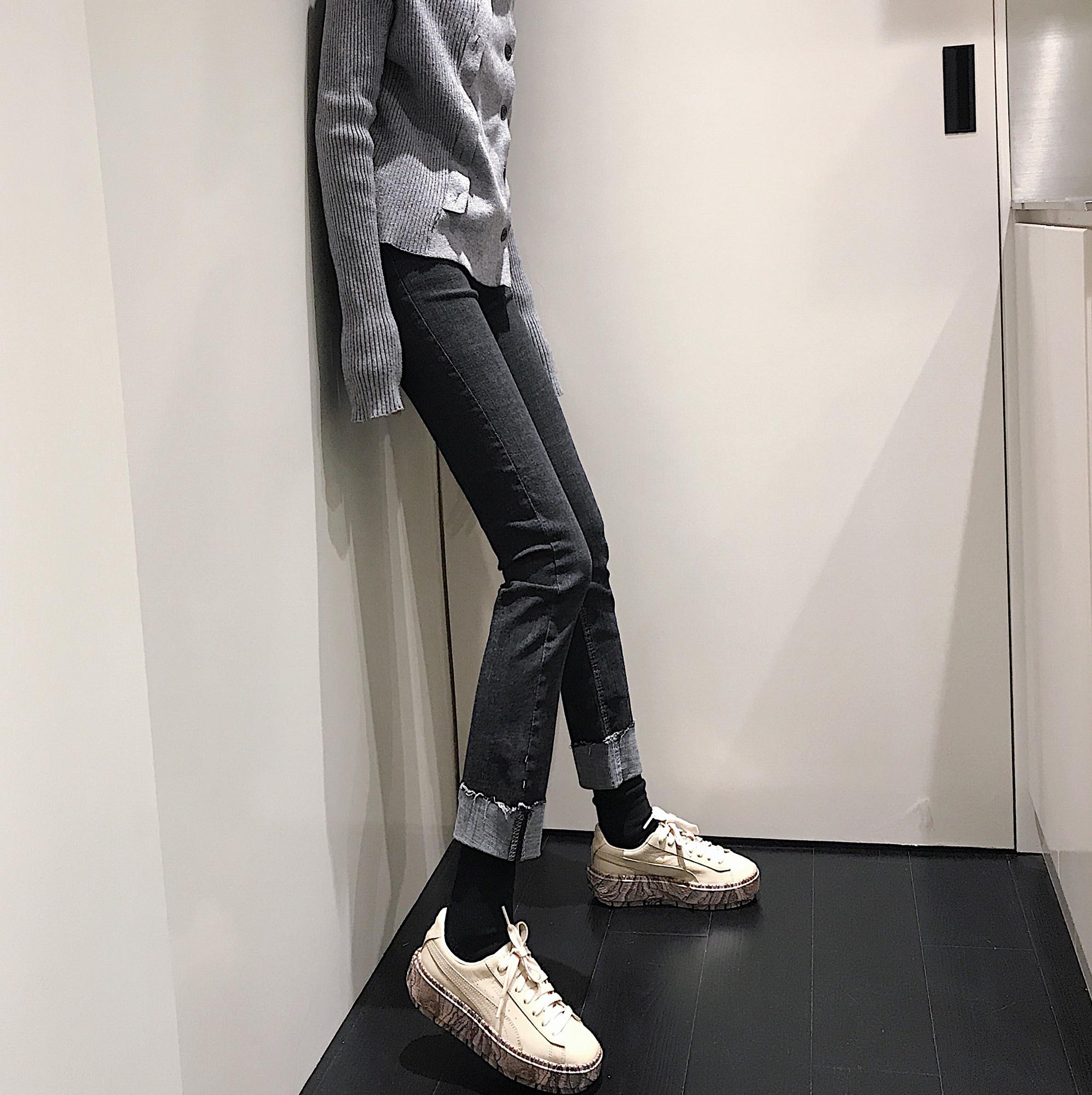 实拍 卷边弹力黑色牛仔裤韩版高腰显瘦紧身弹力小脚长裤