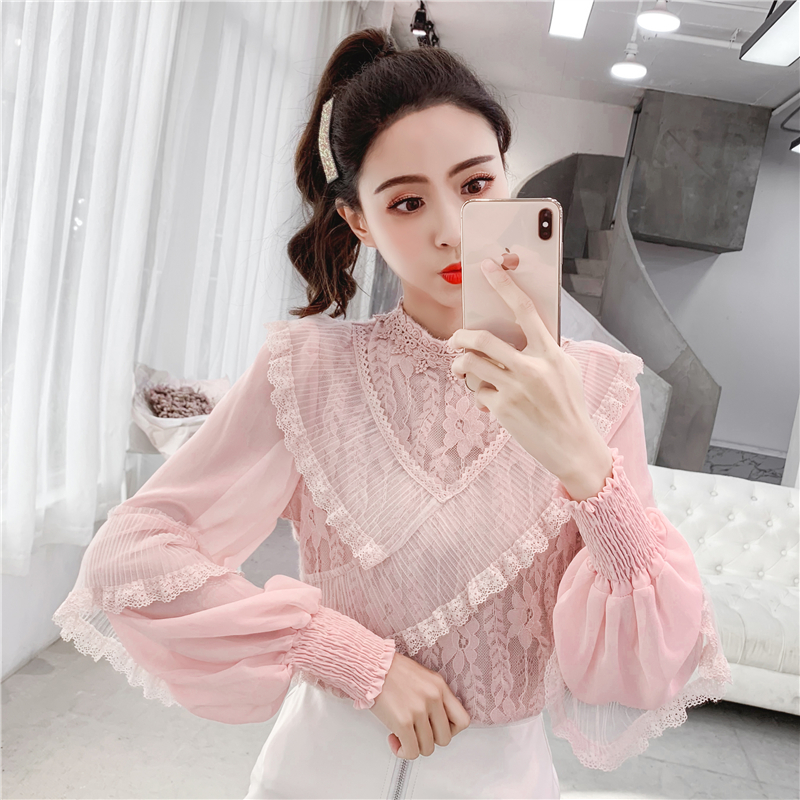 实拍2019春装新款蕾丝花边立领拼接雪纺长袖打底衫