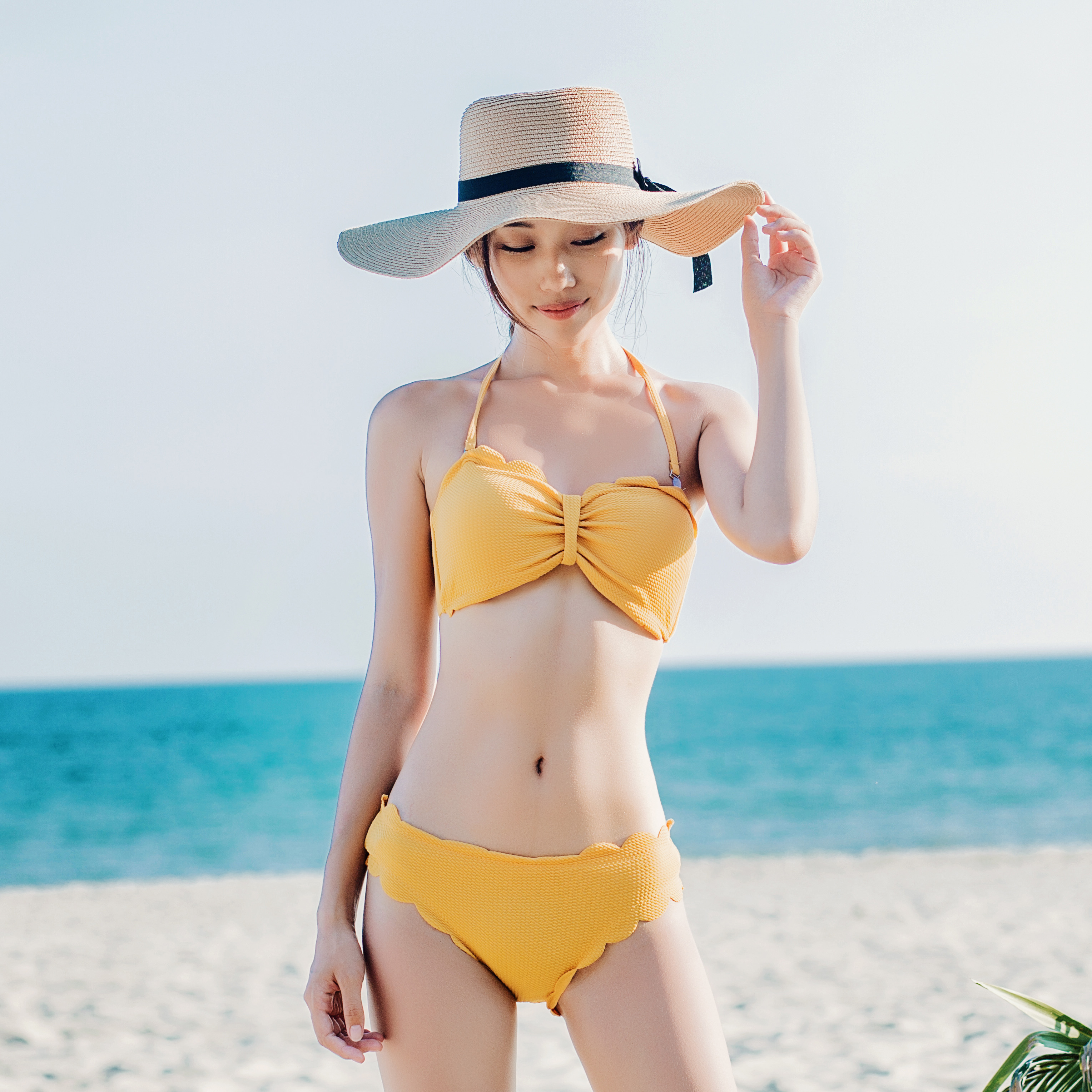 韩国钢拖分体花边比基尼bikini小胸聚拢性感女泳衣木耳花边