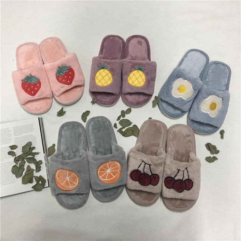 實拍實價~ins馬卡龍色居家鞋 韓國冬季保暖圖案刺繡拖鞋棉鞋