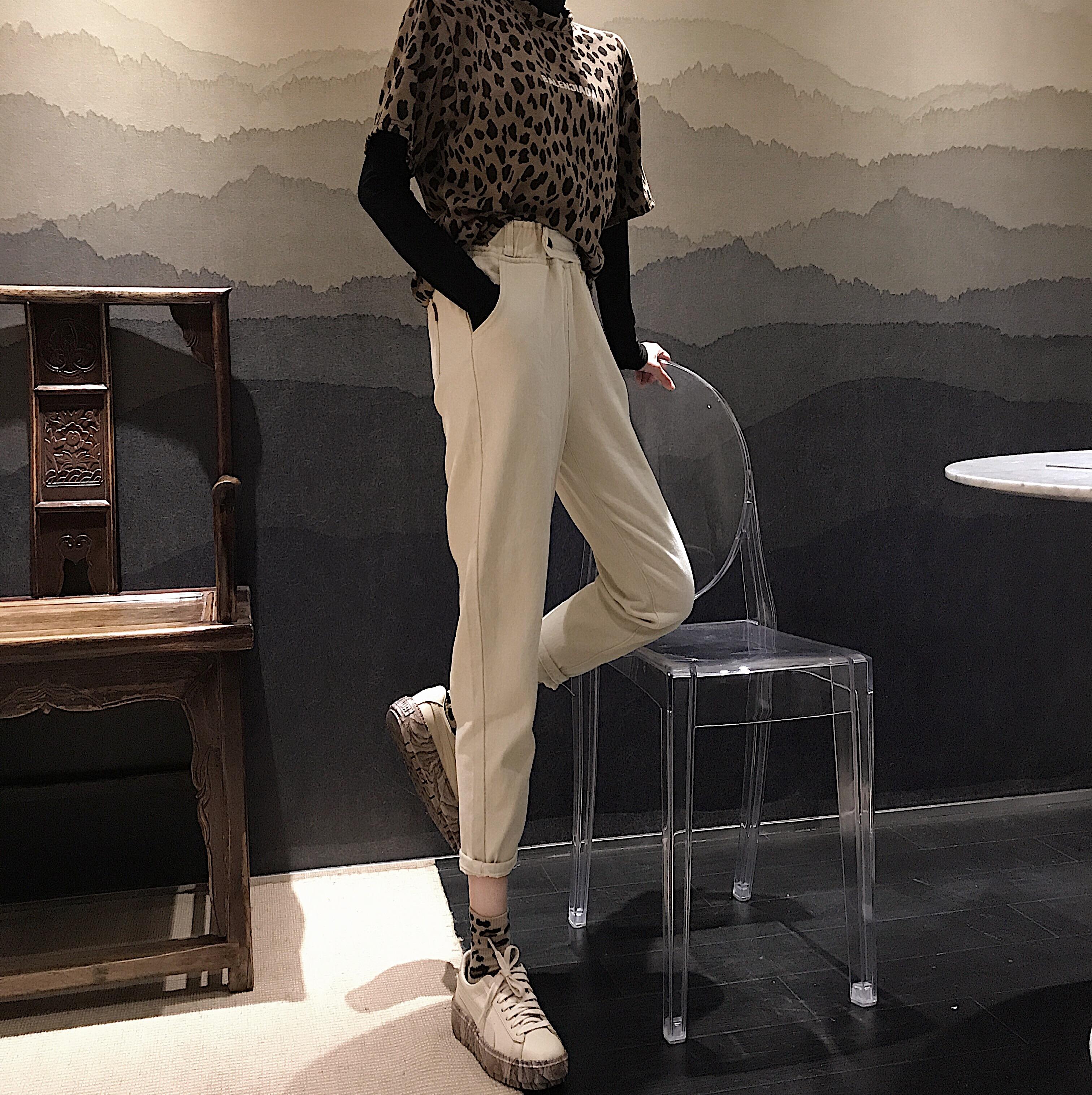 实拍 韩版高腰松紧腰直筒裤阔腿裤宽松白色牛仔裤九分裤