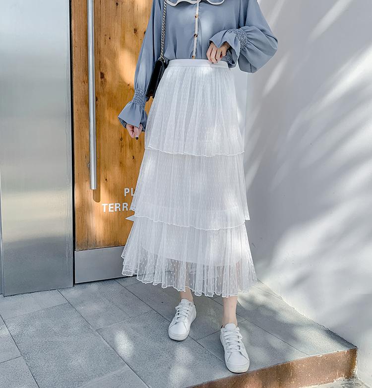 實拍春裝新品波點高腰長裙女法式復古百褶網紗半身裙蛋糕裙