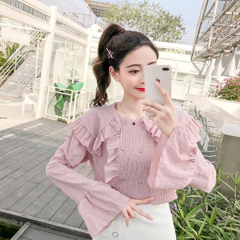 实拍现货2019春装新款韩版女装甜美娃娃领木耳边长袖雪纺衫