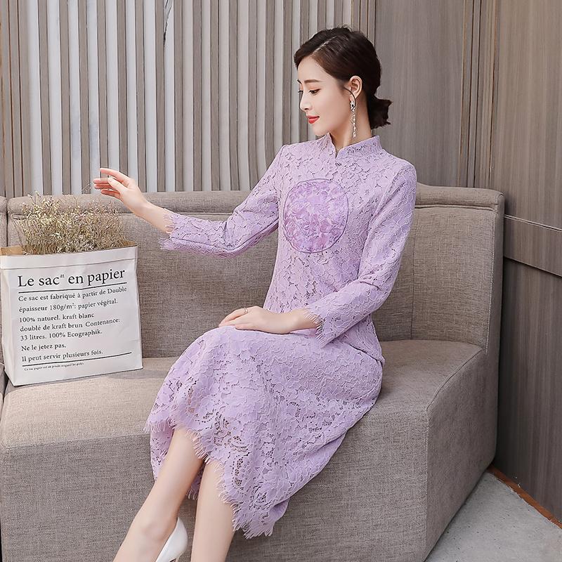 蕾絲連衣裙2019春裝新款立領刺繡顯瘦氣質民族風改良旗袍裙中長款