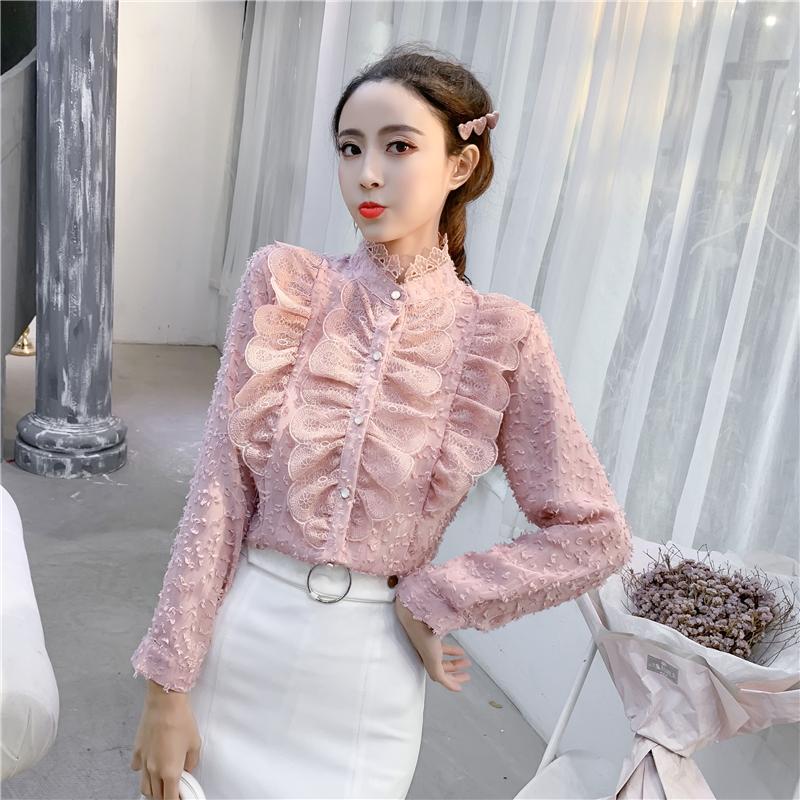 实拍2019春装新款雪纺立领蕾丝边长袖雪纺衬衫女