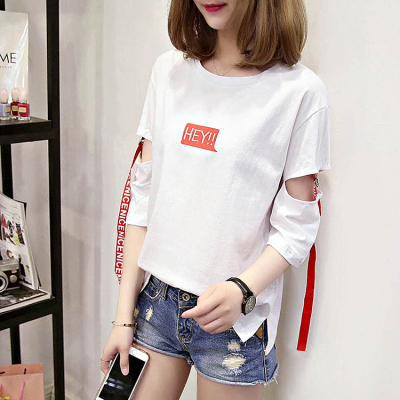 实拍~2019夏季韩国风个性袖子镂空字母织带拼接学生短袖T恤